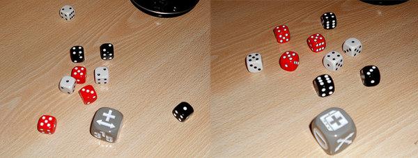 Izquierda: mayor diferencia. Debe cojerse un diablillo negro. Derecha: dado más alto. Debe cojerse un diablillo otra vez negro