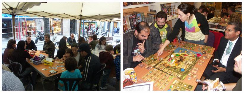 Izquierda: JugarXJugar en plena Avg. Gaudi / Derecha: en una ThNf