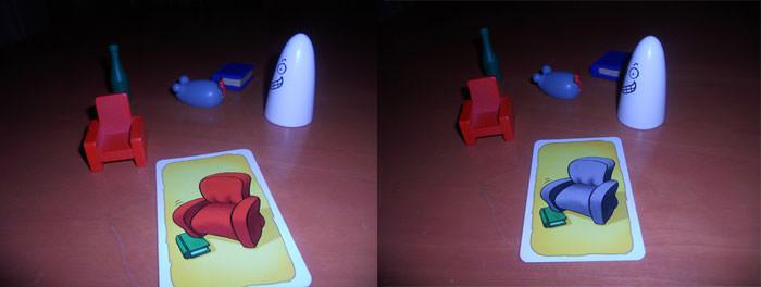 Objeto correcto: la butaca roja / Sin objeto correcto: el fantasma blanco