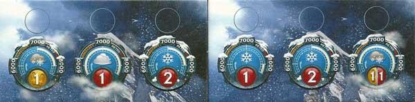 Las previsiones no son muy halagüeñas. La barra blanca en el interior de los círculos de cada día, indica el rango de altura en que se aplica la dificultad.